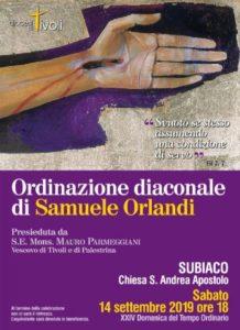 Ordinazione Diaconale di Samuele Orlandi @ Parrocchia S. Andrea Apostolo Subiaco