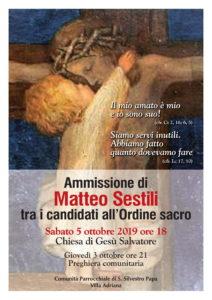 Ammissione tra i candidati agli ordini del diaconato e presbiterato di Matteo Sestili @ Parrocchia S. Silvestro Papa